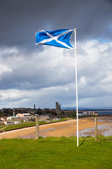 A town and its flag (reiver iron - RMDPhotos.co.uk) Tags: sea beach saint st skyline scotland andrews cross cathedral fife north east flagpole saltire