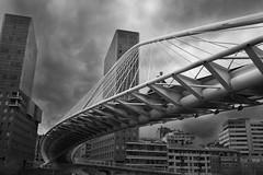 Zubizuri (franysuviola) Tags: city bridge urban bw espaa puente ciudad bn bilbao calatrava urbana vasco norte cantbrico zubizuri