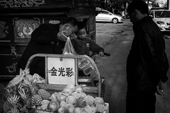 Fruit Vendor and co. (K Michael F C) Tags: china street people blackandwhite fruit asia beijing   fruitstand