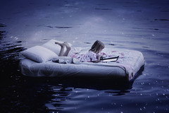 Bedtime stories (wild_empress) Tags: lake reflection water childhood fairytale night stars reading book evening bed twilight britishcolumbia creative surreal floating pillows fantasy midnight littlegirl imagination bedtime blankets conceptual stories storybook nightgown chilliwack starlight cultuslake