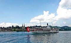 Lucerne 11 (mpetr1960) Tags: city sky building water landscape switzerland boat nikon europe ship cityscape flag eu swans lucerne d800 nikond800