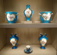 New York. The  Metropolitan Museum of Art. Beautiful collection of Sevres French porcelain in Celeste Blue colouring. (denisbin) Tags: newyork art museum ew metropolitanmuseumofart yorksevresporcelainchinasalonmetropolitan