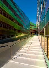 _DSC2221 (durr-architect) Tags: light sun colour reflection netherlands glass architecture modern facade offices almere dfense berkel unstudio