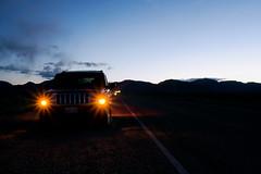 Walkin' The Dog (travelkaefer) Tags: california road winter sky usa cold car night dark lights us desert jeep nevada deathvalley suv beatty commander vereinigtestaaten