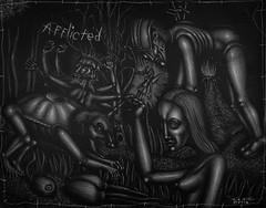 Afflicted (Tom McKee / Art Guy) Tags: pen pencil ink dark drawing surrealism surreal surrealist narrative lowbrow visionary prisma visionaryart