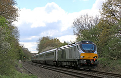 68010 storms up Hatton bank (Andrew Edkins) Tags: england cat geotagged stormtrooper warwickshire incline carriages chilternrailways shrewley 68010 class68 passengerservice railwayphotography hattonbank