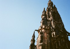 op - scott monument tower (johnnytakespictures) Tags: building tower film monument dedication gardens architecture pen scott scotland big lomo lomography edinburgh great gothic victorian large scottish princesstreet sirwalterscott olympus historic huge historical writer tall analogue halfframe scotts period ee3 lomographycn400