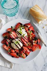 strawberries and burrata (Cindy | Hungry Girl por Vida) Tags: cheese lunch salad strawberry plate snack basil balsamic burrata hungrygirlporvida