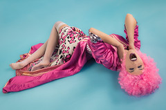 Disco Pink Panthera (aminefassi) Tags: pink portrait people colors fashion rose studio popart morocco wig casablanca mode pinkdress caftan  immiebibiana