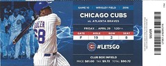 Atlanta Braves vs. Chicago Cubs, April 29,  2016 (Brule Laker) Tags: tickets baseball wrigleyfield chicagocubs atlantabraves mlb nationalleague friendlyconfines jorgesoler