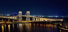 Sai Van Bridge, Macau (Rebecca Ang) Tags: china city bridge light urban architecture reflections twilight cityscape bluehour macau macao thebluehour saivan saivanbridge specialadministrativeregion ostrellina pontesaivan rebeccaang