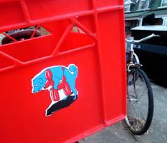 Squeaka-Squeaka! (Georgie_grrl) Tags: toronto ontario dogs bike bicycle naughty sticker funny humour kensingtonmarket milkcrate ohmy balloonanimal bikingtoronto canonpowershotelph330hs mynewdarkpinkside