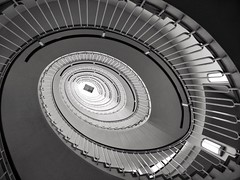 Astigmatism (Douguerreotype) Tags: city uk england urban blackandwhite bw london geometric monochrome architecture stairs spiral mono britain geometry steps gb british helix
