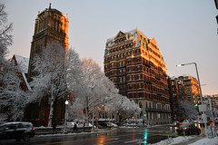 Back Bay buildings (hansntareen) Tags: road winter sunset snow sunshine traffic clearingstorm