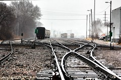 Make My Getaway (KC Mike Day) Tags: winter cold lines train ties tracks railway east bottoms bleak gravel switchback shifting