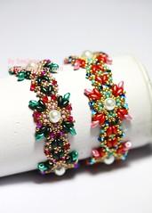 Floretta Bracelet (BeeJang - Piratchada) Tags: pink red white green gold golden crystal handmade jewelry bracelet pearl swarovski miyuki emerald beading beaded beadwork beadweaving