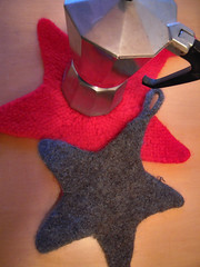 Felted Star-shaped potholders (Winterbound) Tags: felted knitting handmade crafts handknitted