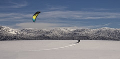 Kite Skiing the Flats (In Explore 2/1/2016) (Patty Bauchman) Tags: snow skiing idaho kiteskiing snowkiting snowsports antelopeflats islandparkidaho