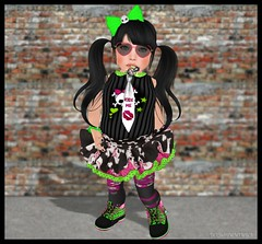 Being a Punk with Monkey Pox (delisadventures) Tags: pink baby black cute green me rebel skull monkey kid yummy kiss punk neon yum boots bat ripped sl secondlife bow pigtails kissme pox tims neongreen neonpink timberlands timbs monkeypox toddleedoo tweeneedoo