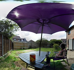 Picasso Break (mdavidford) Tags: coffee garden table relax chair break purple drink furniture seat spiderman suburbia parasol mug rest shelter mismatched discontinuous photosphere