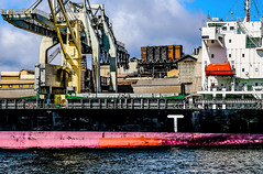 freighter at zinc refinery, Derwent river, Hobart (robertmilesdesign) Tags: boats australia canon5d hobart australianlandscape