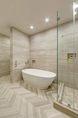 High ceiling & herringbone tile floors by Artistic Tile (inspiration_de) Tags: floors tile bathroom ceiling masterbathroom
