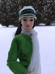 "Winter's ""Arrival"" (Foxy Belle) Tags: trees winter snow hat night scarf asian outside doll boots leah coat barbie style glam 2015"