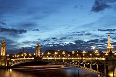 Paris #29 (arcotronics) Tags: bridge blue paris seine night river landscape boat long exposure tour iii landmark eiffel hour pont alexandre senna