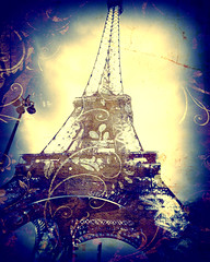Eiffel Tower, Indigo Blue (L L Stewart) Tags: blue paris france art yellow french artistic digitalart eiffeltower latoureiffel toureiffel parisfrance indigoblueindigo