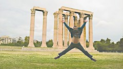Temple of Olympic Zeus (Dave G Kelly) Tags: man jump columns ruin athens x greece zeus templeofzeus starjump