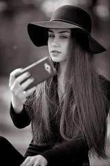 Selfie (mugensx) Tags: portrait white black girl zeiss phone bokeh sony alpha dslr 135mm selfie a900 13518