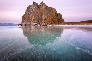 Shamanka Sacred Rock on Olkhon Island, Baikal Lake, Russia