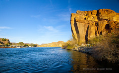 The Colorado River in Parker, AZ (Sandy Pictures) Tags: blue sunset red arizona cliff beautiful river cliffs coloradoriver parker