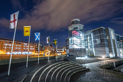 Royal Armouries Leeds (Richard Croft136) Tags: road lighting city sky urban west reflection building water shop skyline museum architecture night clouds liverpool buildings river lights reflecting restaurant boat canal office dock nikon long exposure shadows angle bright cloudy vibrant yorkshire wide steps leeds royal casino structure sp altea infrastructure shops moonlight tall tamron ultra aire clarence barge 15mm d800 armouries 30mm 1530mm