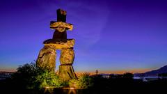 English Bay Inukshuk - HDR (ashikisa) Tags: sunset sculpture vancouver bc sony englishbay publicart newmoon inukshuk hdr indigenous bracketing a7s sonya7s