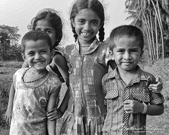 Friends - Ayush samruddhi Ananya shrida (Ganesh @bantakal.com) Tags: camera portrait bw white black girl smile field kids children asian nikon child rice farm indian south posing desi coolpix ananya karnataka closup enjoying posting udupi ayush samruddhi l30 shrida bantakalcom