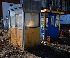 Kiosks (geowelch) Tags: toronto abandoned shadows urbanlandscape kiosks libertyvillage urbanfragments fujifilmx10