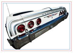 Chevrolet Impala 1964 (madmtbmax) Tags: auto light red usa white classic chevrolet car vintage emblem logo lights us back frames 60s tail low border hobby retro 64 chevy bumper chrome ami american badge frame behind impala rider 1964