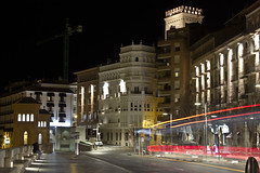 Bus fantasma. (jm_alcon) Tags: street espaa night luces noche spain rojo nocturna urbana fantasma teruel aragn