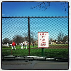 Park at Your Own Risk (Guy Fisher) Tags: cameraphone window sports sign baseball lofi squareformat berea heritagefield baldwinwallaceuniversity instagramapp uploaded:by=instagram guy