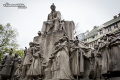 Stone statues in Budapest (v.Haramustek) Tags: people art monument statue stone hungary faces outdoor pigeons budapest statues mens sculptures arhitecture