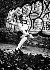 Leigh #1 (fugjostle) Tags: urban blackandwhite bw woman female canon blackwhite model women bowtie 5d canon5d pigtails softbox 2470l alternate steveriley 2470mm 2470 offcameraflash ef2470mm leighjones fugjostle