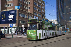 HTM GTL tram 3113, Lijn 9, Stationsplein (Den Haag) (Don Maskerade) Tags: world holland public netherlands dutch traffic den transport nederland tram rail railway hague advertisement commercial transportation service kpn haag streetcar trams tramway hs strassenbahn ov the htm vervoer openbaar gtl of spotify stationhollandsspoor stadsvervoer totaalreclame reclametram commercialtram