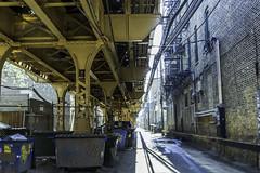 Adjacent bridge Double Door North Ave. pic6 4-25-2016 (Artemortifica) Tags: street bridge sky chicago cars clouds buildings construction blueline crane bikes graffity milwaukee western trucks damen