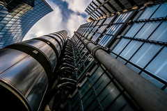 Lloyds Of London (Neal_T) Tags: city uk sky urban building london lines architecture clouds reflections fuji norfolk shapes wideangle lookingup norwich fujifilm 12mm lloydsoflondon samyang xt10 willistowers samyang12mm