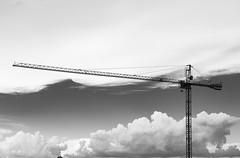 Big crane. (Pablin79) Tags: light sky white black argentina monochrome clouds big construction iron afternoon crane outdoor grua misiones posadas