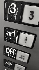 Damaged.... (Bubash) Tags: door white 3 black car floors work 1 call open panel elevator monotone cop braille operating pushbutton hold