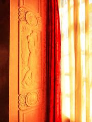 The Southern World (Steve Taylor (Photography)) Tags: wood uk greatbritain red england orange woman white london art net window sunshine yellow architecture lady digital glow native unitedkingdom sunny palace carving relief surround gb jug curtains artdeco carrying eltham southernworld
