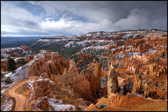 Incoming (Roving Vagabond) Tags: park morning light usa snow storm skyline landscape utah spring outdoor explorer canyon national bryce findyourpark