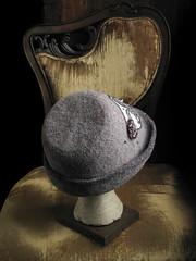 Fleur de Lis Cadet, back (chronographia) Tags: wool hat grey beads silk felt fleurdelis millinery filthylucre exoticshadesofgrey treebarkgrey strangehoursatelier curiousmillinery